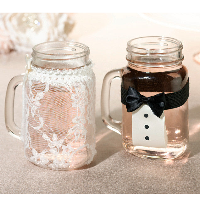 Bride and Groom Drink Glass Covers (Set of 2)