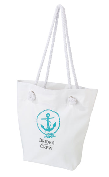 Destination Wedding White Bridal Crew Tote Bag