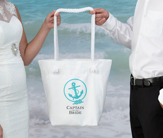 Captain Bride Destination Wedding White Bridal Crew Tote Bag