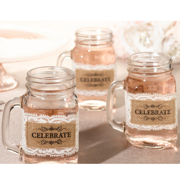 Celebrate Burlap and Lace Pint Glass Wrap Wedding Party Decor (Set of 6)