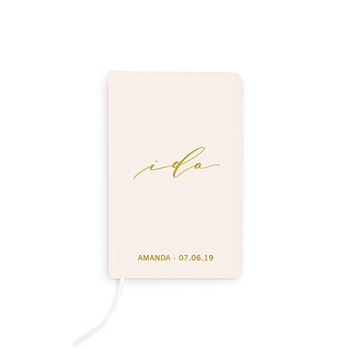 Ivory I Do Personalized Linen Wedding Vows Pocket Journal