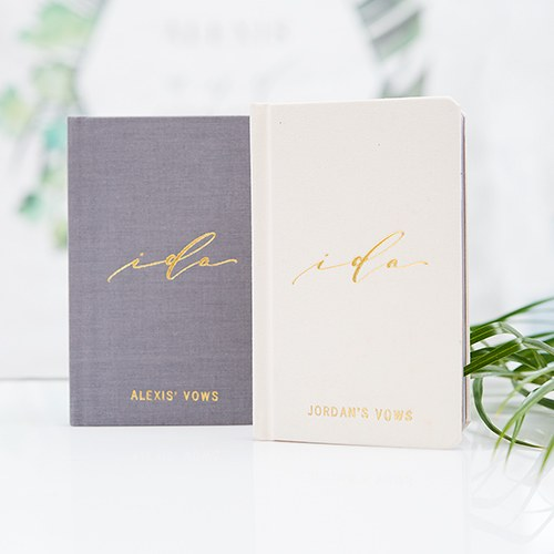I Do Personalized Linen Wedding Vows Pocket Journal