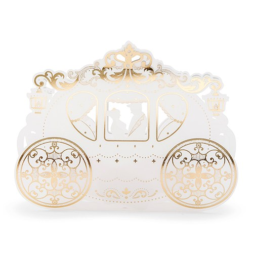 Gold and Ivory Cinderella Wedding Carriage Favor Box (Pack of 10)