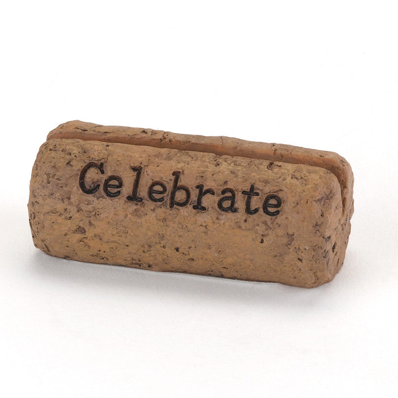 """Celebrate"" Wine Cork Wedding Place Card Holder"