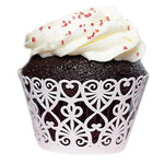 Decorative Cupcake Wrappers with Lace Heart Details