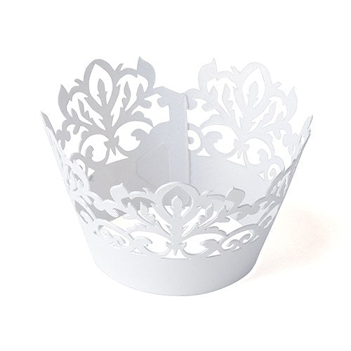 White Damask Cupcake Wrappers Weddings and Parties