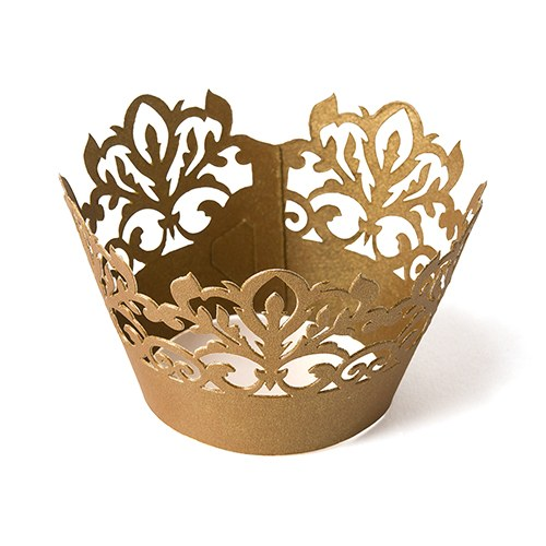 Gold Damask Cupcake Wrappers Weddings and Parties