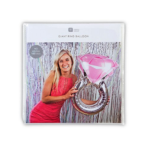 No Helium Needed - Diamond Engagement Wedding Ring Foil Balloon