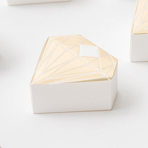 Gold or Silver Diamond Shaped Wedding Party Favor Box (Pack of 10)