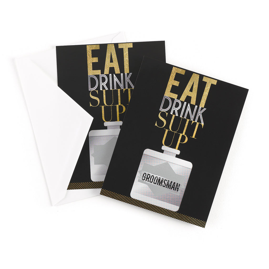 Eat, Drink, Suit Up Groomsman Scratch Off Invitation Card