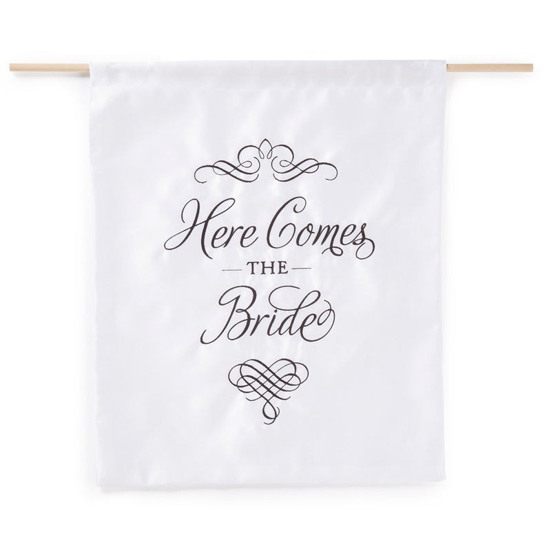 White and Black Elegant Here Comes the Bride Sign