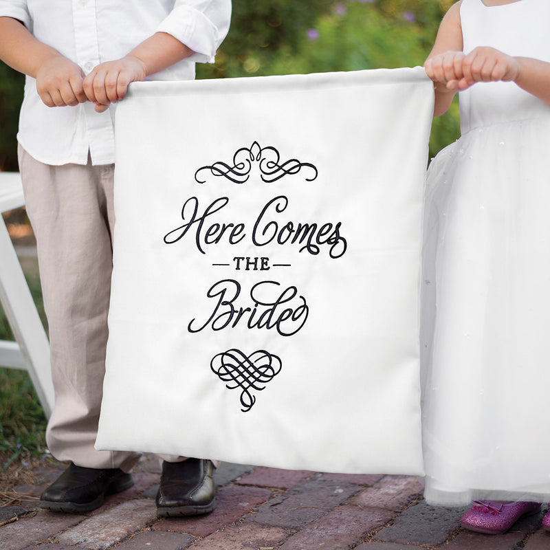 Black and White Satin Here Comes the Bride Sign