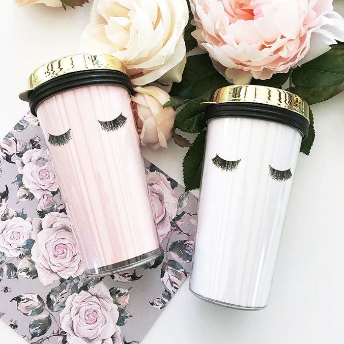 Eyelash Travel Coffee Tumblers - Gold Lid