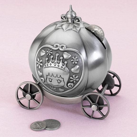 Fairy Tale Pumpkin Coach Pewter Bank Gift Idea Flower Girls