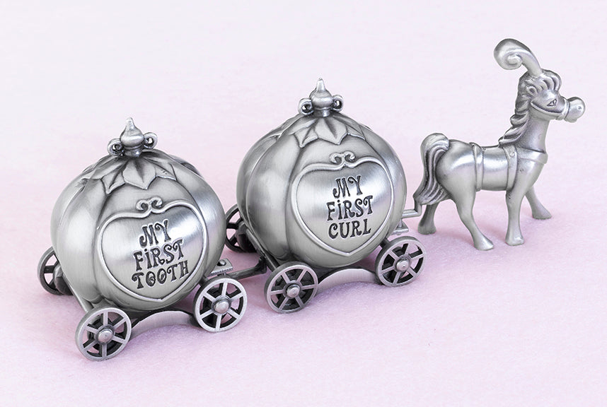 Fairy Tale Coach Pewter Tooth and Curl Boxes Gift Idea Flower Girls