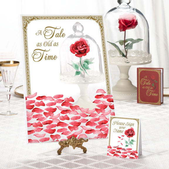 Beauty and the Beast Style Rose Petal Wedding Ceremony Signing Canvas
