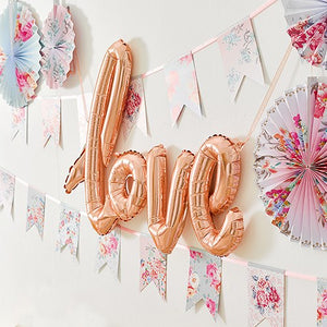Rose Gold Cursive Love Foil Balloon Wedding Party Reception Decoration