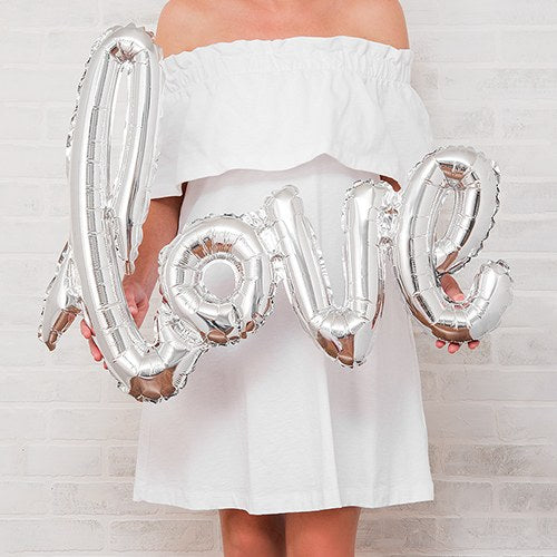 Silver Cursive Love Foil Balloon Wedding Party Reception Decoration