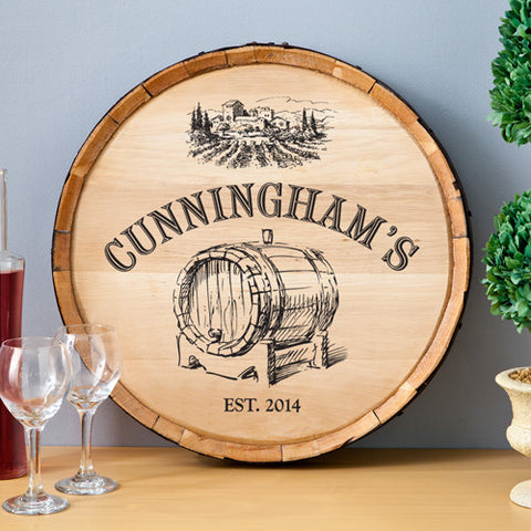 Personalized Barrel of Vino Family Sign