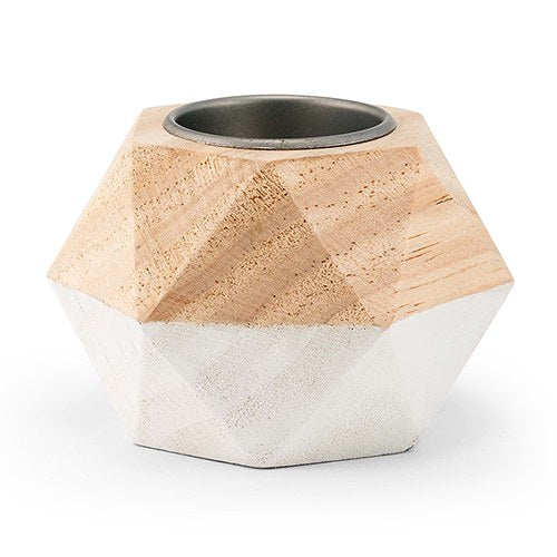 Dipped Wooden Geometric Tealight Holder