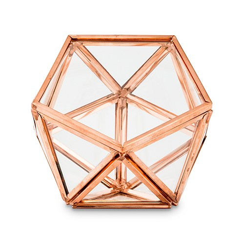 Glass Geometric Copper Wedding Ring Jewelry Box
