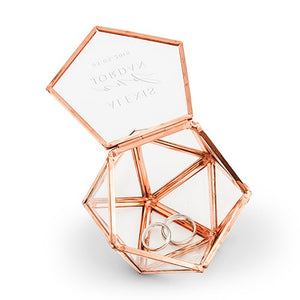 Personalized Glass Geometric Copper Wedding Ring Jewelry Box