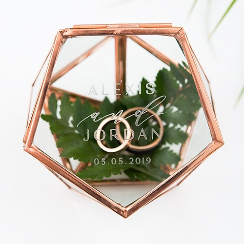 Personalized Glass Geometric Copper Wedding Ring Jewelry Box Candy