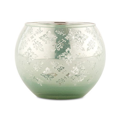 Glass Globe Votive Holder Reflective Lace Pattern