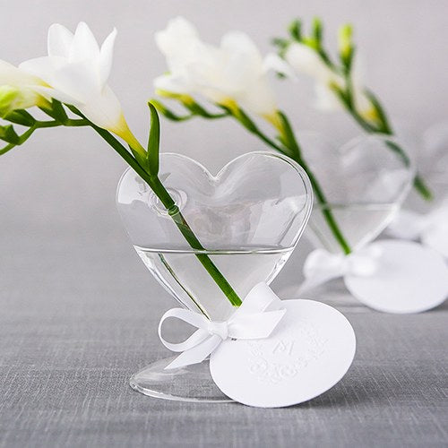Glass Heart Wedding Party Centerpiece Vase (Pack of 4)