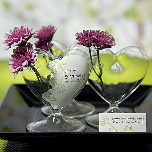 Glass Heart Table Centerpiece Vase