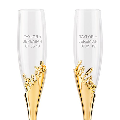 Personalized Gold Cheers To Love Toasting Flutes Glass Set