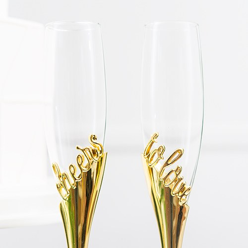 Personalized Gold Cheers Toasting Flutes Glass Set