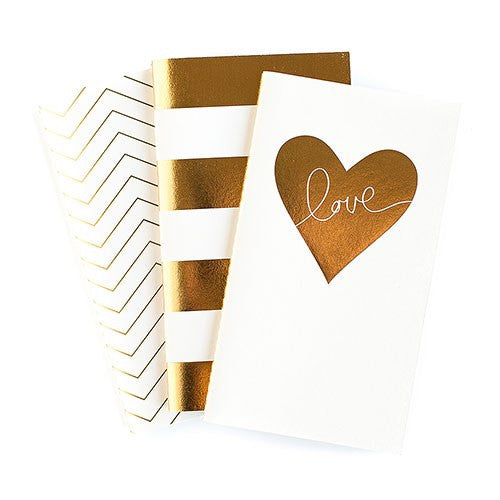 Gold Foil Mini Paper Notebooks Assortment (Pack of 3)