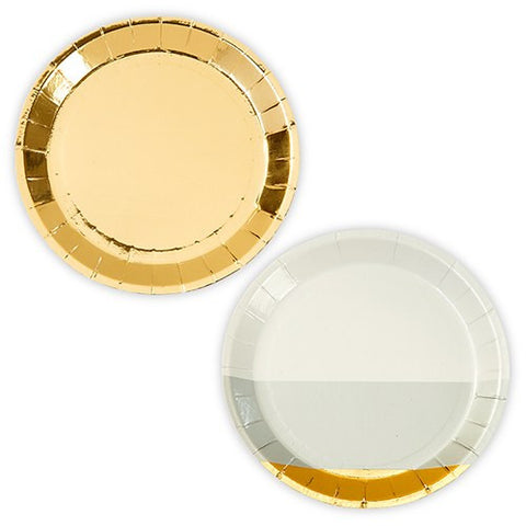 Gold Foil and Grey Appetizer Party Plates