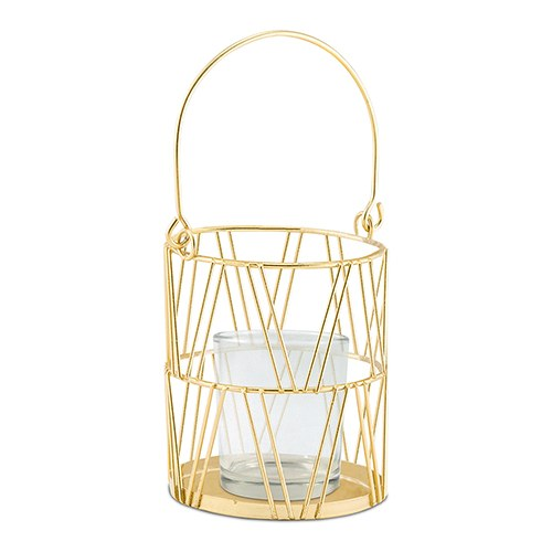 Gold Geometric Candle Lantern