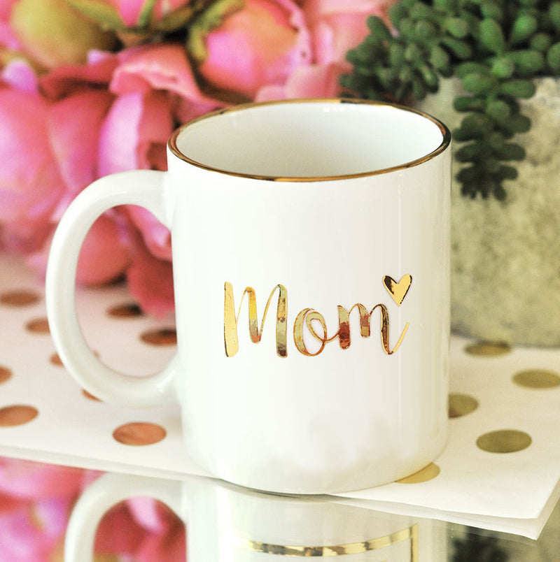 Gold Lettering Heart Mom Coffee Mug Gift