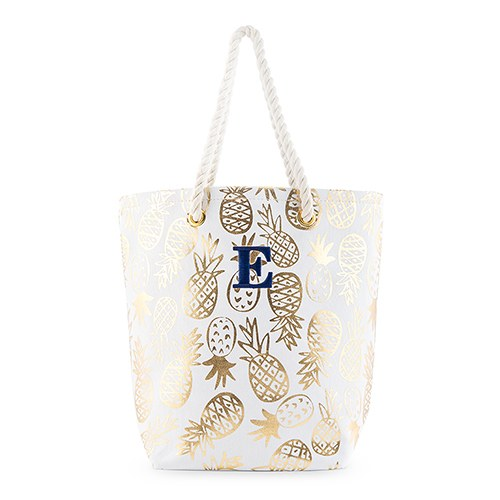 Gold Pineapple Personalized Bride Bridesmaid Canvas Tote