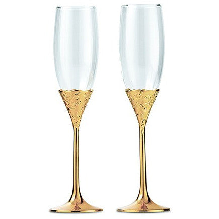 Gold Stemmed Wedding Champagne Glass Set
