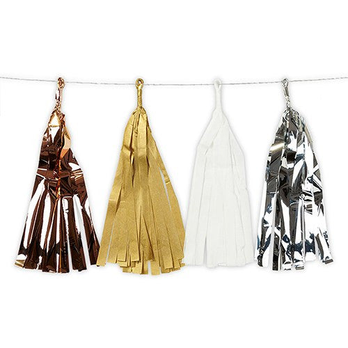 Metallic Tissue and Foil Tassel Garland Set - Gold Silver Copper White