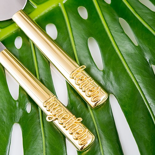 Better Together Personalized Gold Wedding Cake Knife & Server