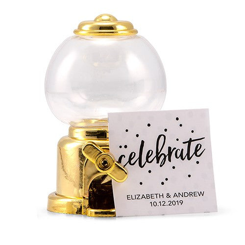 Gold Mini Gumball Machine Wedding Party Favor (Pack of 2)
