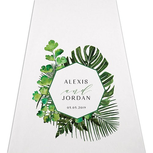 Green Leaf Tropical Personalized Wedding Aisle Runner