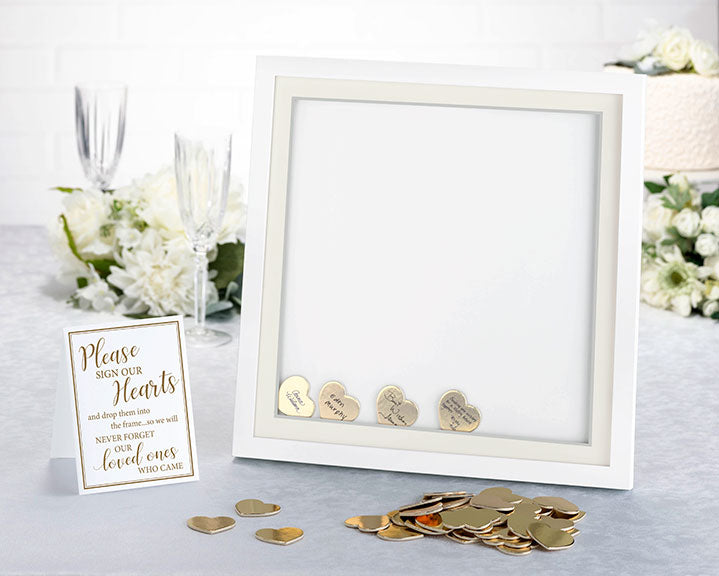 Wedding Guest Book Alternative Signing Frame with 48 Gold Hearts