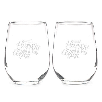Happily Ever After Stemless Glass Set