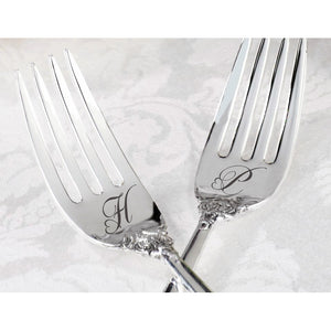 Personalized Heart Monogram Bride and Groom Silver Fork Wedding Cake Set