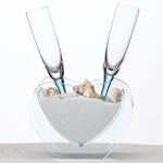 Personalized Wedding Heart Vase with Toasting Glasses