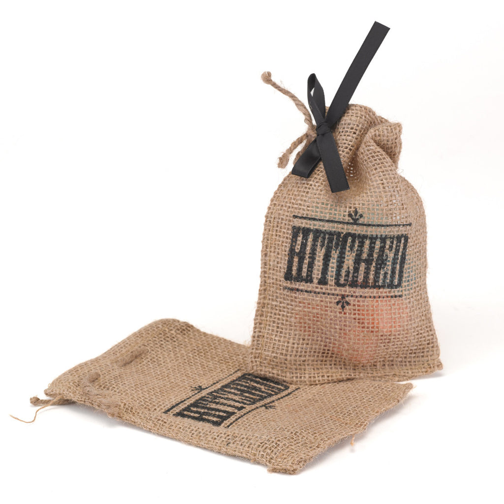 """Hitched"" Burlap Party Favor Bag"