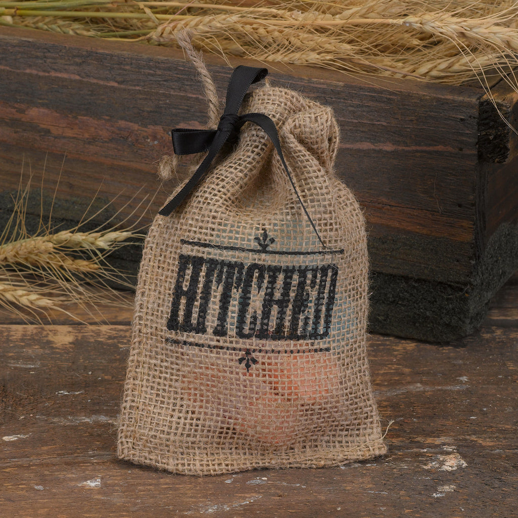 """Hitched"" Burlap Wedding Favor Bag"