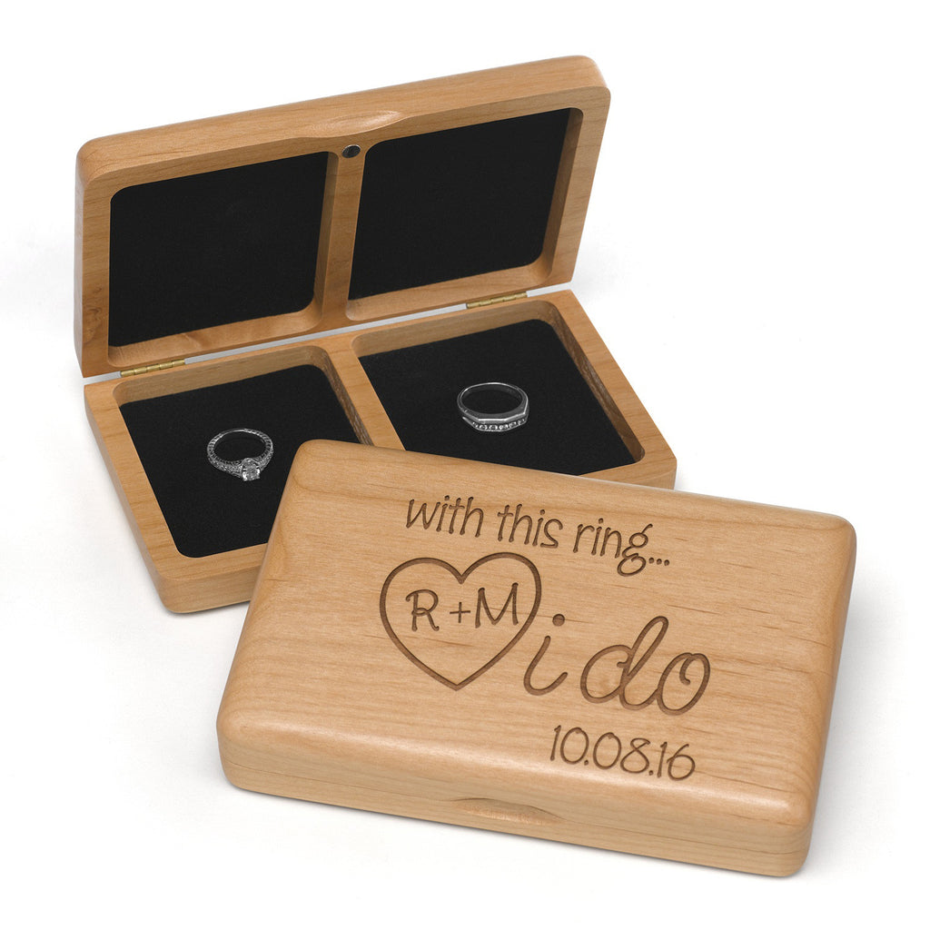 Personalized I Do Wooden Wedding Ring Box