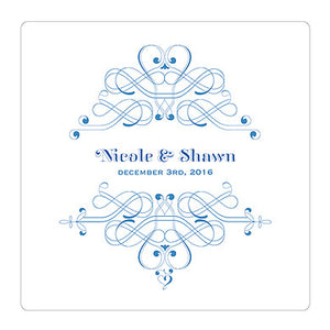 Indigo Blue Fanciful Monogram Personalized Clear Acrylic Block Cake Topper